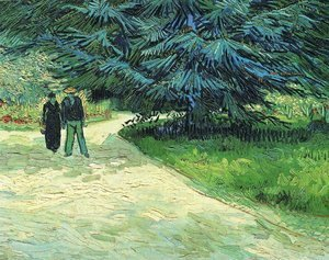Public Garden with Couple and Blue Fir Tree (The Poet s Garden III)