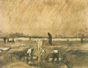 Vincent Van Gogh - Churchyard in the Rain 2