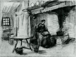 Interior with Peasant Woman Sitting near the Fireplace 2