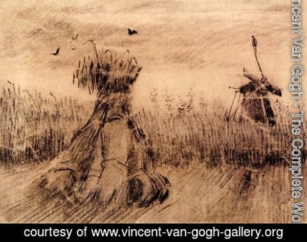 Vincent Van Gogh - Wheatfield with a Stook and a Mill