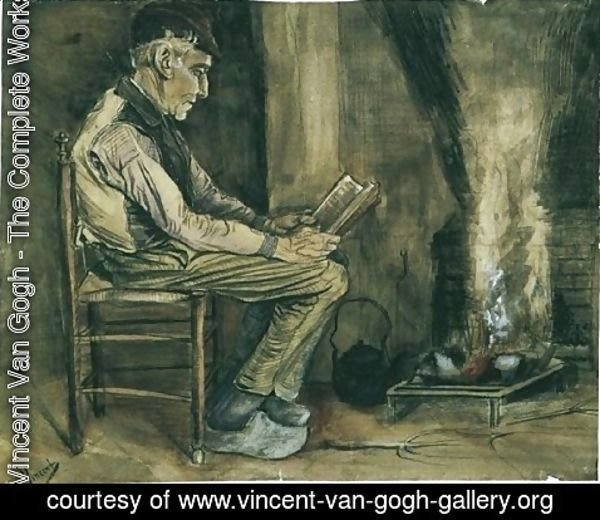 Vincent Van Gogh - Farmer sitting at the fireside and reading