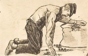 Vincent Van Gogh - Man Putting Potatoes in a Sack
