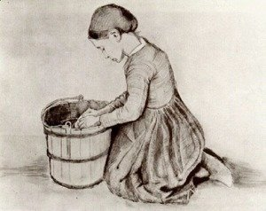Vincent Van Gogh - Girl Kneeling in Front of a Bucket