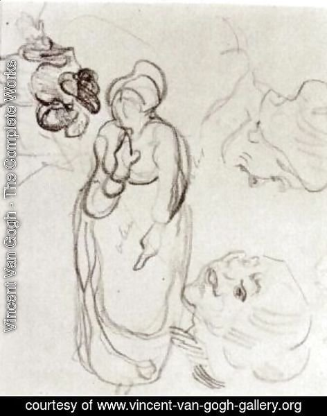 Vincent Van Gogh - Study of a Woman Standing, Two Heads, Another Figure