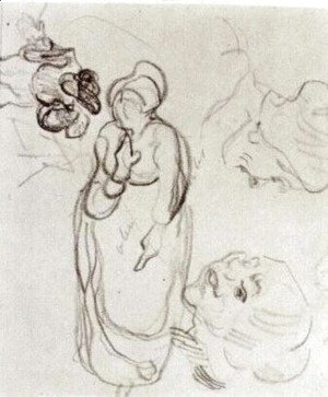 Study of a Woman Standing, Two Heads, Another Figure