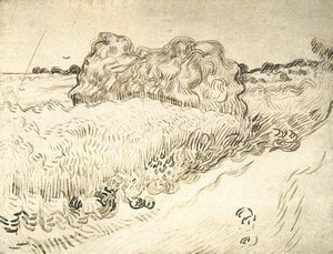 Vincent Van Gogh - Wheat Field with a Stack of Wheat or Hay