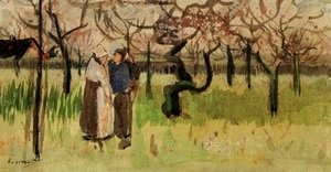 Vincent Van Gogh - Orchard in Blossom with Two Figures Spring
