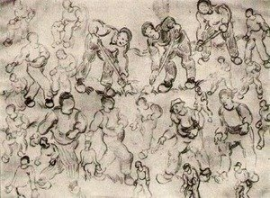 Sheet with Numerous Figure Sketches