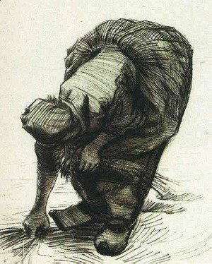 Vincent Van Gogh - Peasant Woman Stooping and Gleaning 2