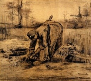Vincent Van Gogh - Peasant Woman Lifting Potatoes 5