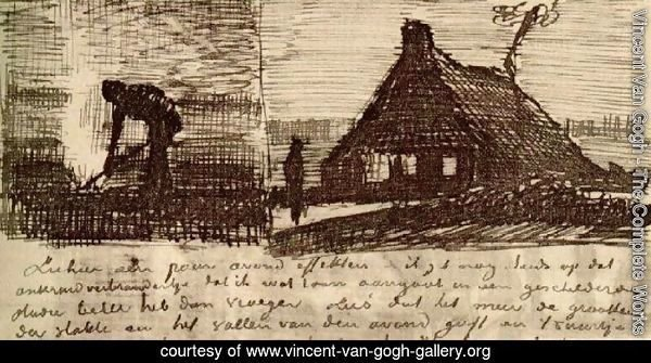 Peasant Burning Weeds, and Farmhouse at Night