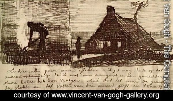 Vincent Van Gogh - Peasant Burning Weeds, and Farmhouse at Night