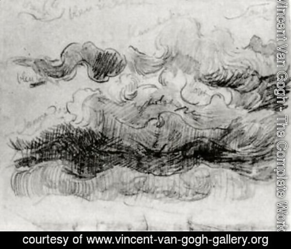 Vincent Van Gogh - Sketch of Clouds with Colour Annotations