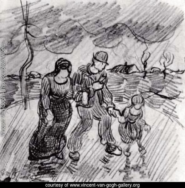 Couple Walking Arm in Arm with a Child in the Rain
