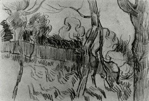 Vincent Van Gogh - Pine Trees Seen against the Wall of the Asylum 2