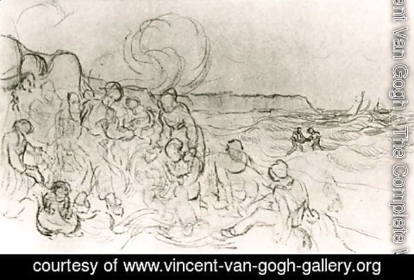 Vincent Van Gogh - A Group of Figures on the Beach