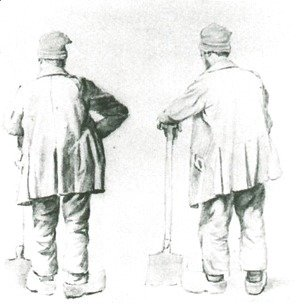 Vincent Van Gogh - Two Sketches of a Man Leaning on His Spade