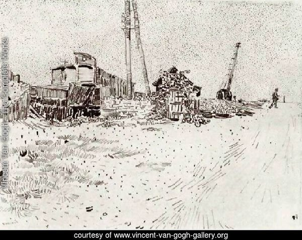 Road with Telegraph Pole and Crane