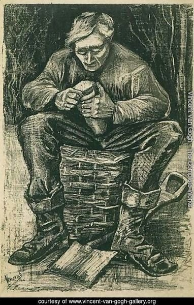 Workman Sitting on a Basket, Cutting Bread
