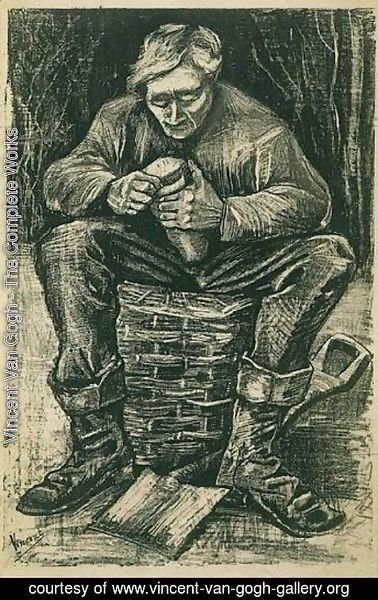Vincent Van Gogh - Workman Sitting on a Basket, Cutting Bread