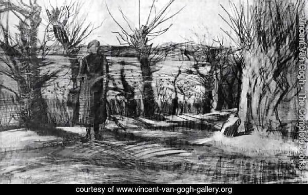 Woman on a Road with Pollard Willows