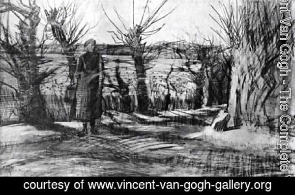 Vincent Van Gogh - Woman on a Road with Pollard Willows