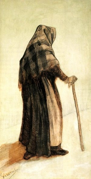 Vincent Van Gogh - Old Woman with a Shawl and a Walking-Stick