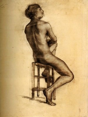 Seated Male Nude Seen from the Back