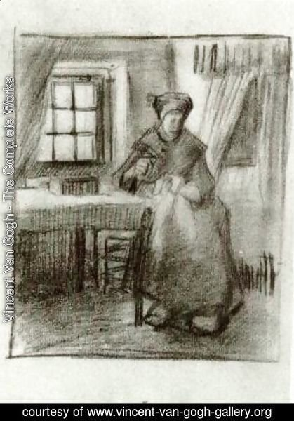 Vincent Van Gogh - Interior with Peasant Woman Sewing 4