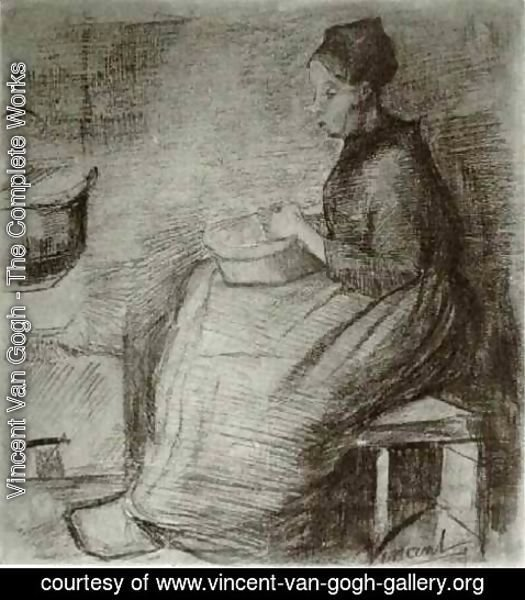Vincent Van Gogh - Woman, Sitting by the Fire, Peeling Potatoes