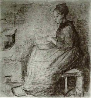 Woman, Sitting by the Fire, Peeling Potatoes