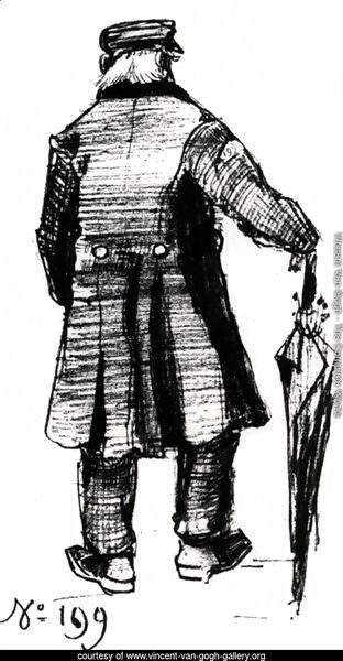 Orphan Man with Long Overcoat and Umbrella, Seen from the Back 2