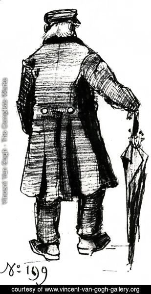 Vincent Van Gogh - Orphan Man with Long Overcoat and Umbrella, Seen from the Back 2
