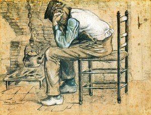 Vincent Van Gogh - Peasant Sitting by the Fireplace (Worn Out) 2