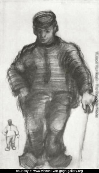 Peasant with Walking Stick, and Little Sketch of the Same Figure