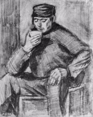 Vincent Van Gogh - Young Man, Sitting with a Cup in his Hand, Half-Length