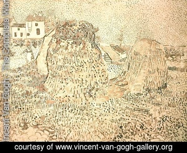 Vincent Van Gogh - Haystacks near a Farm 2