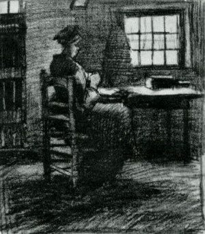 Vincent Van Gogh - Interior with Peasant Woman Sewing 5