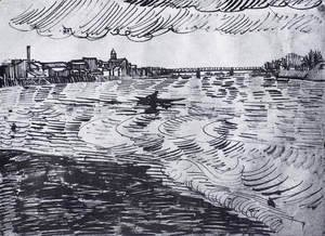 Vincent Van Gogh - Rhone with Boats and a Bridge