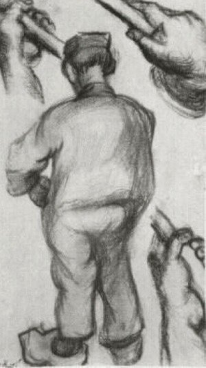Peasant, Seen from the Back and Three Hands Holding a Stick