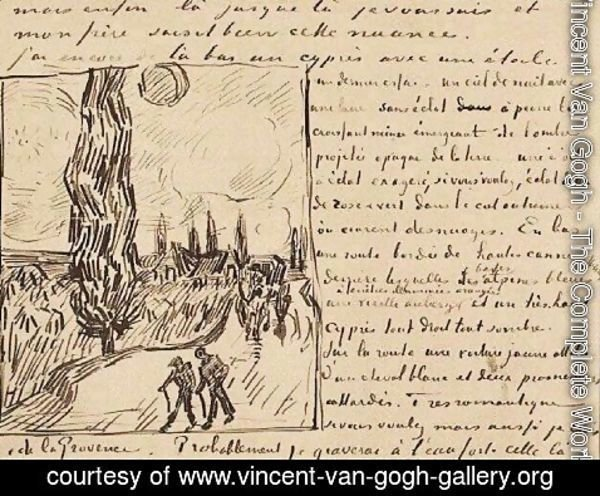 Vincent Van Gogh - Road with Men Walking, Carriage, Cypress, Star, and Crescent Moon