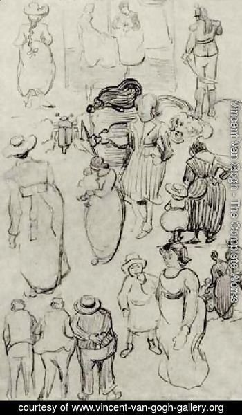 Vincent Van Gogh - Sheet with Many Sketches of Figures
