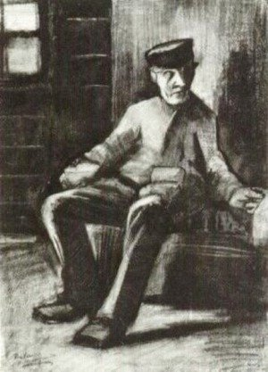 Blind Man Sitting in Interior
