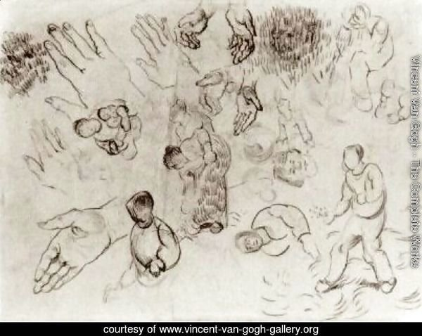 Sheet with Hands and Several Figures