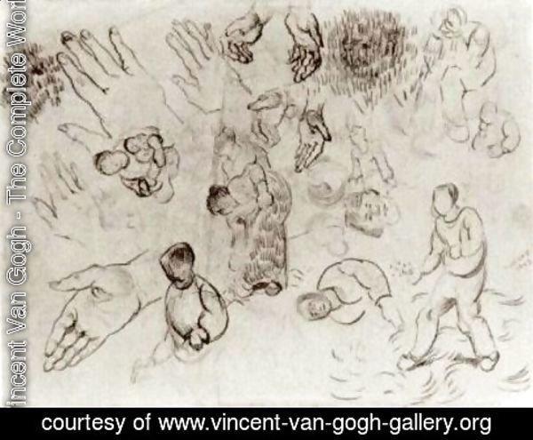 Vincent Van Gogh - Sheet with Hands and Several Figures