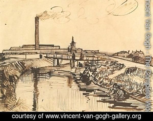 Vincent Van Gogh - Canal with Bridge and Women Washing