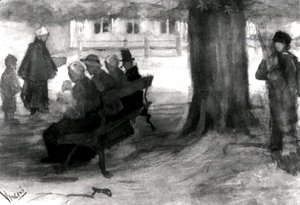 Vincent Van Gogh - Bench with Four Persons and Baby