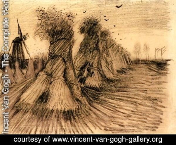 Vincent Van Gogh - Stooks and a Mill