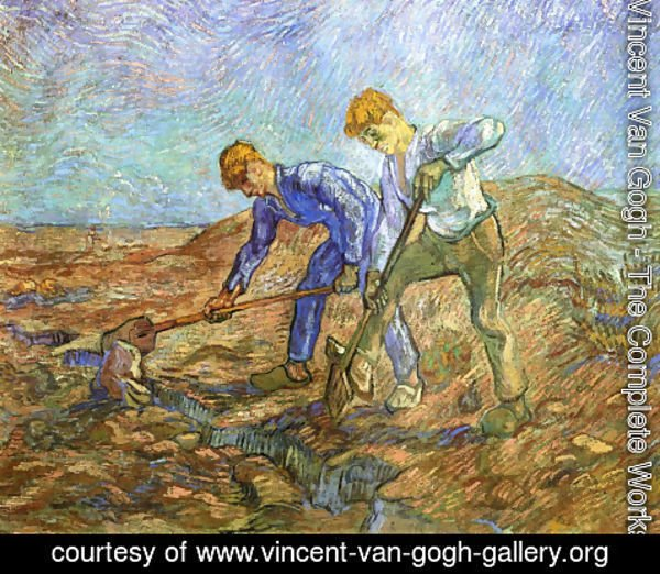 Vincent Van Gogh - Two Peasants Diging (after Millet)