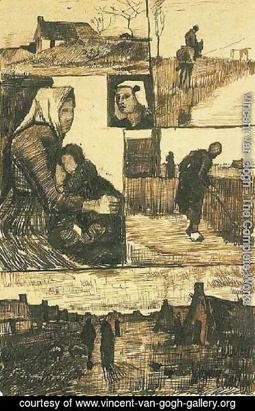 Vincent Van Gogh - A Sheet with Sketches